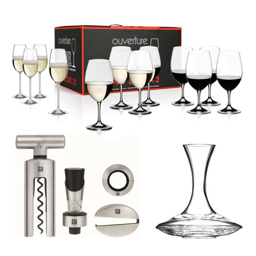 Set of 12 Wine Glasses with Decanter and Sommelier Set