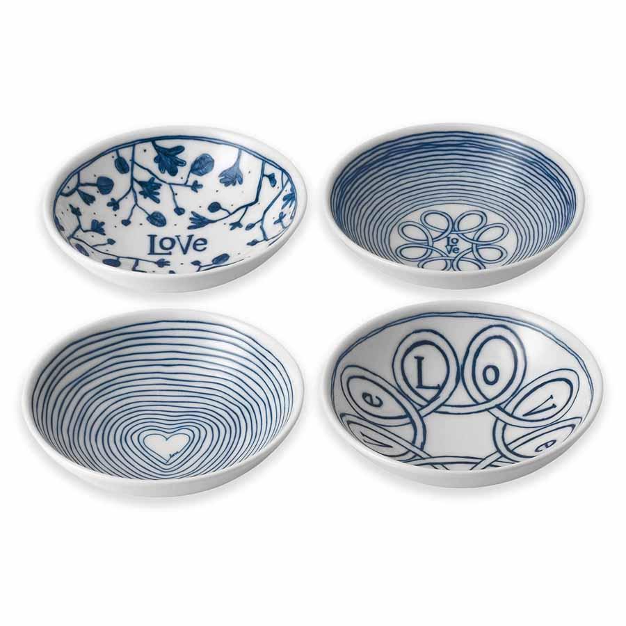 Set of 4 Ellen Degeneres Love Bowls  - BLUE