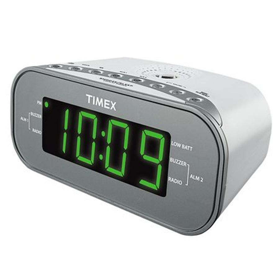 Large Display LED Dual Alarm Clock Radio - WHITE